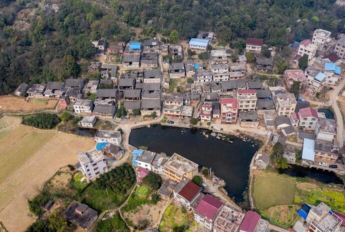 塘付村古建筑全景图
